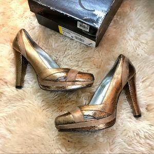 Carlos Santana Sweetness Metallic Bronze Heels 7.5